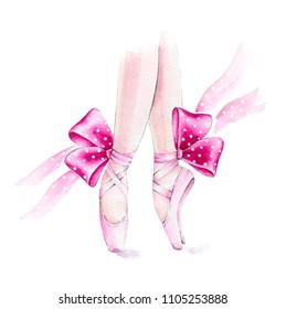 Ballet shoes. Watercolor hand painted illustration isolated on white background.Ballet series.