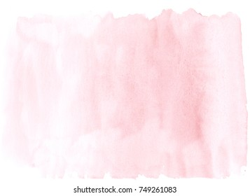 Ballet Slipper pink watercolor wet brush paint on white background for web, text design, print. Aquarelle abstract hand drawn paper texture graphic element for wallpaper, card.