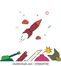 Ballistic missile, rocket flight filled line icon, simple illustration, weapon related bottom border.