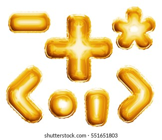 Balloon alphabet symbols and punctuation signs of plus, minus, dot, comma, star glyph, brackets. Realistic 3D isolated gold helium balloon abc alphabet golden font text. Decoration element