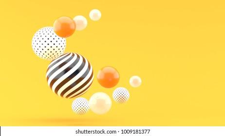 Balloon floating on an orange backdrop.