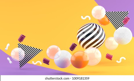 Balloon floating on a orange and purple background 3d render.