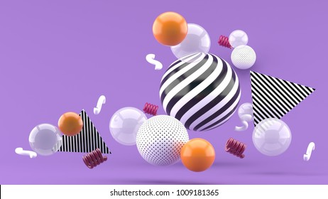 Balloon floating on a purple bacground 3d render.