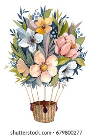 Balloon of flowers, hand drawn watercolor. Original bouquet composition of flowers. Perfect for wedding and birthday cards, invitation, valentine card.