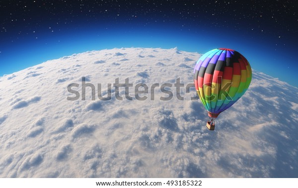 The balloon flying over planet covered by clouds. This is a 3d render illustration