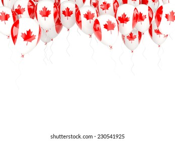 Balloon frame with flag of canada isolated on white