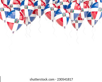 Balloon frame with flag of dominican republic isolated on white