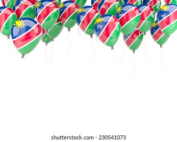 Balloon frame with flag of namibia isolated on white