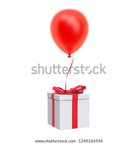 Balloon with gift box in the blue sky. 3D rendering isolated on white background
