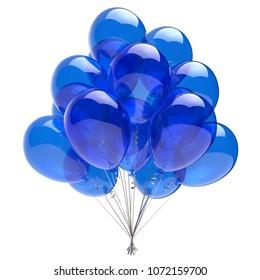 Balloon happy birthday party decoration blue glossy balloons. Holiday anniversary celebrate invitation greeting card. 3d illustration
