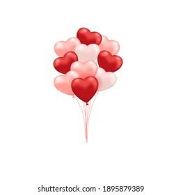 balloon heart valentine icon illustration