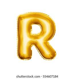 Balloon letter R. Realistic 3D isolated gold helium balloon abc alphabet golden font text. Decoration element for birthday or wedding greeting design on white background