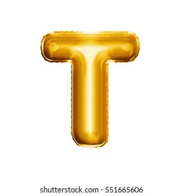 Balloon letter T. Realistic 3D isolated gold helium balloon abc alphabet golden font text. Decoration element for birthday or wedding greeting design on white background