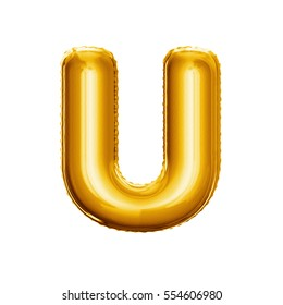 Balloon letter U. Realistic 3D isolated gold helium balloon abc alphabet golden font text. Decoration element for birthday or wedding greeting design on white background