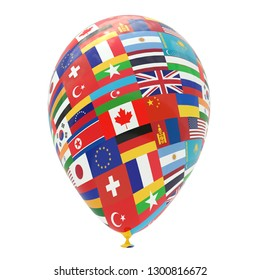 Balloon with national flags of the world, isolated on white. 3D rendering, illustration.