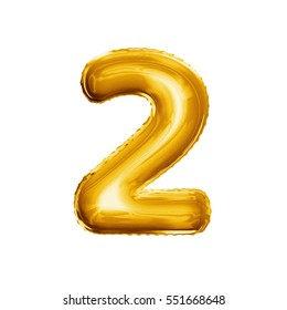 Balloon number 2 Two. Realistic 3D isolated gold helium balloon abc alphabet golden font text. Decoration element for birthday or wedding greeting design on white background