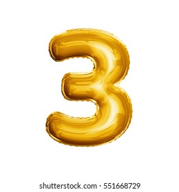 Balloon number 3 Three . Realistic 3D isolated gold helium balloon abc alphabet golden font text. Decoration element for birthday or wedding greeting design on white background