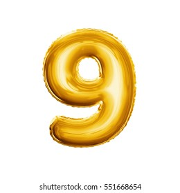 Balloon number 9 Nine. Realistic 3D isolated gold helium balloon abc alphabet golden font text. Decoration element for birthday or wedding greeting design on white background