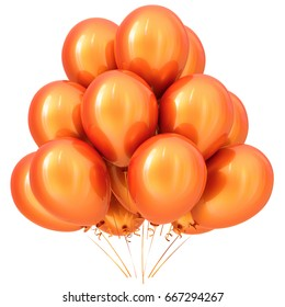 Balloon orange party happy birthday holiday carnival celebrate anniversary decoration yellow 3D illustration