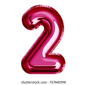 Balloon passion pink color, Font number 2 made of realistic air balloon. 3d illustration with Clipping Path ready to use. For elegance balloon decoration; party, birthday, love concept, Valentines day
