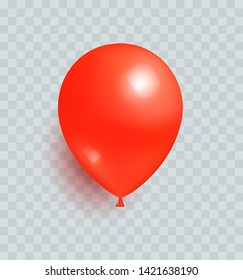 Balloon of red color realistic design raster isolated on transparent background. balloons made from rubber latex polychloroprene or nylon fabric