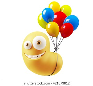 Balloons Birthday Emoji Cartoon. 3d Rendering.