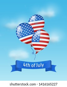 Balloons colored as flag USA with 4th July banner in the sky. Background for Independence day USA