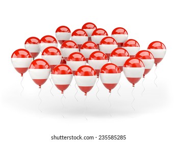 Balloons with flag of austria isolated on white