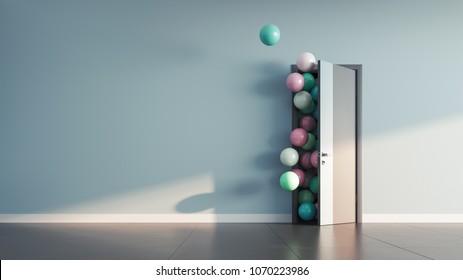 Balloons fly away through open door in office interior. 3D render