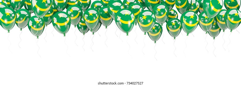 Balloons frame with flag of mauritania isolated on white. 3D illustration