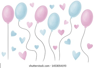 Balloons and hearts in tender pastel colors. Classic romantic clip art kit white isolated.