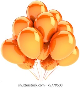 Balloons party birthday decoration orange yellow. Sunny holiday celebration anniversary graduation retirement concept. Happy joy positive emotion abstract. 3d render isolated on white background