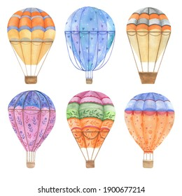 Balloons set. Flying transport. Watercolor drawing.