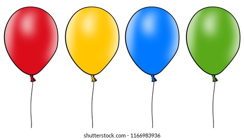 Balloons set isolated on white background.Cartoon flat style balloons for web site,poster,placard and wallpaper.Useful for greeting and wedding card,mobile app.Creative modern art, illustration