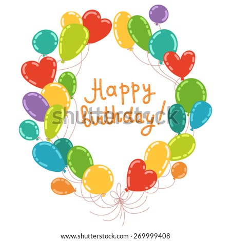 Balloons Wreath With Words HAPPY BIRTHDAY Great For Invitations Greeting Cards Tags Rasterised
