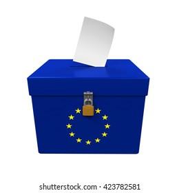 Ballot Box with European Union Flag. 3D rendering