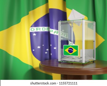 Ballot box with flag of Brazil and voting papers. Brazilian presidential or parliamentary election.  3d illustration