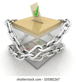 Ballot box isolated on white with chain - 3d illustration