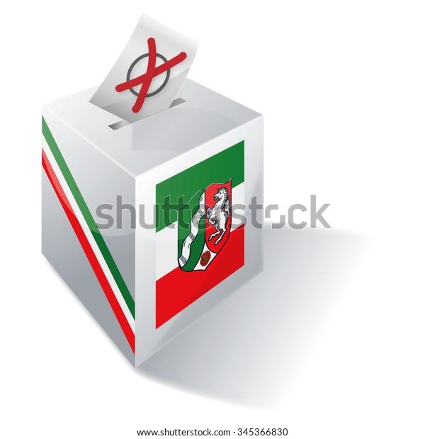 Ballot box in North Rhine-Westphalia and election