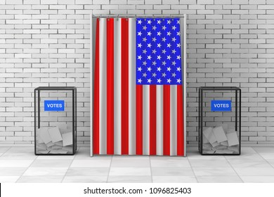 Ballot Boxes near White Voting Booth with Curtain and USA Flag in front of brick wall. 3d Rendering