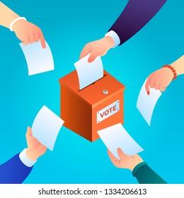 Ballot concept background. Isometric illustration of ballot concept background for web design