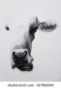 Ballpoint pen drawing of cow.