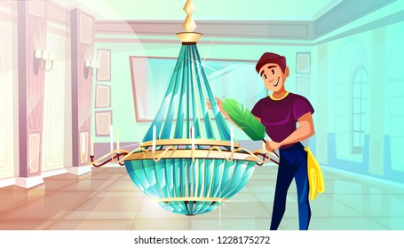 Ballroom cleaning illustration of man dusting big crystal chandelier with feather duster. Royal palace hall or museum service for ball room interior with candelabra lamps on pillars and mirror