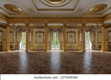 The ballroom and restaurant in classic style 3D Render 3D image