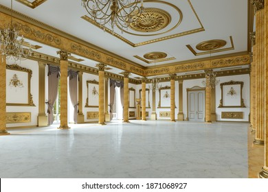 The ballroom and restaurant in classic style. 3D render. 3d image