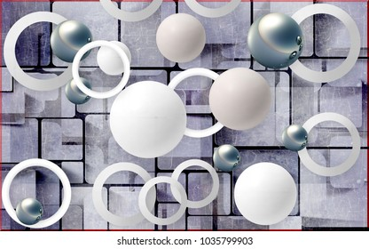 Balls and circles on an abstract background. Photo wallpaper for wall. 3D rendering.