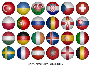 balls with flags of the European Championship