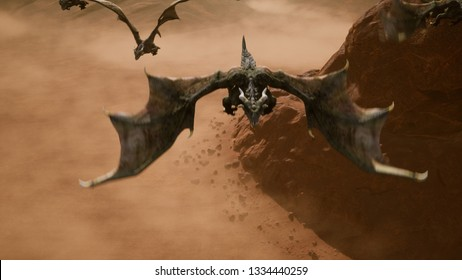 Ballsy a few dragons flying over the scorching desert on a Sunny day. 3D Rendering