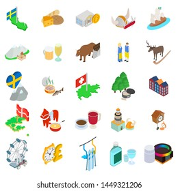 Baltic country icons set. Isometric set of 25 baltic country icons for web isolated on white background