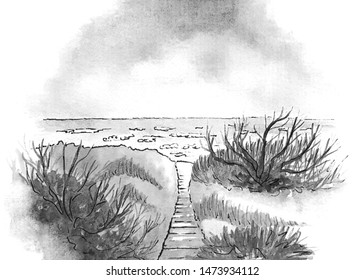Baltic sea. Black and white watercolor illustration on white background. Place - small sity Palanga, Lithuania, Europe.